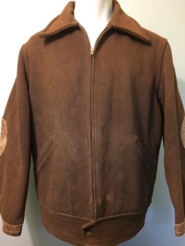 Vtg 30er 40er Jahre Braun Wolle Arbeitskleidung Jacke Mantel HERREN L Leder
