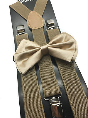 New Champagne Gold Bowtie and Tan Suspender set Tuxedo Formal Men's USA SELLER - Gold Suspenders And Bowtie