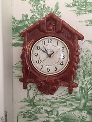 GOTHAM Ceramic 30's-40's Ceramic Faux Cuckoo Clock Reworked So Battery Operated