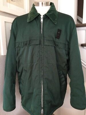 VTG Golden Fleece Uniform Jacket Coat Shiny Green Corduroy Collar USA Made Sz 46 Fleece Uniform