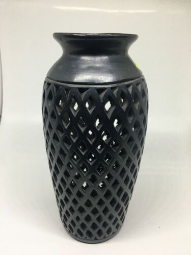 Handcarved Barro Negro Mexican Folk Art Black Pottery Vase Oaxaca Mexico