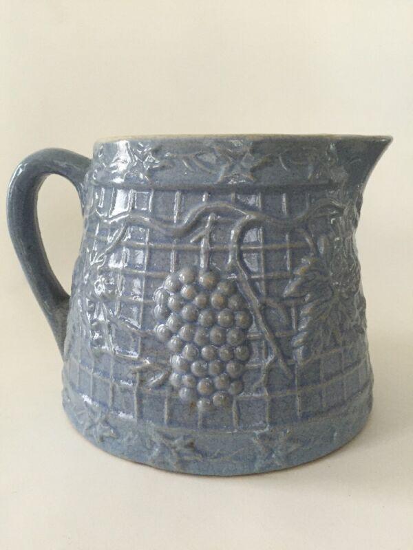 Antique Blue Grape & Trellis / Waffle Stoneware Tapered Squat Batter Pitcher