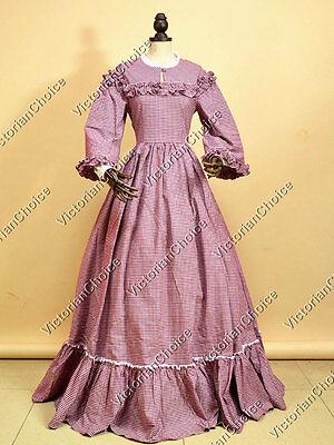 Victorian Pioneer Woman Prairie Tartan Dress Theater Reenactment Clothing 260