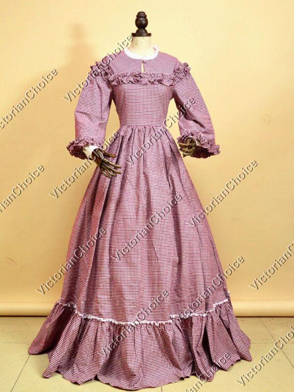 Victorian Dickens Dress Plaid Pioneer Little Women Halloween Costume  260