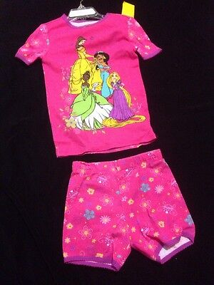 (NWT DISNEY STORE 5, Girls Pink Princess printed 2 Pcs spring summer pj's)
