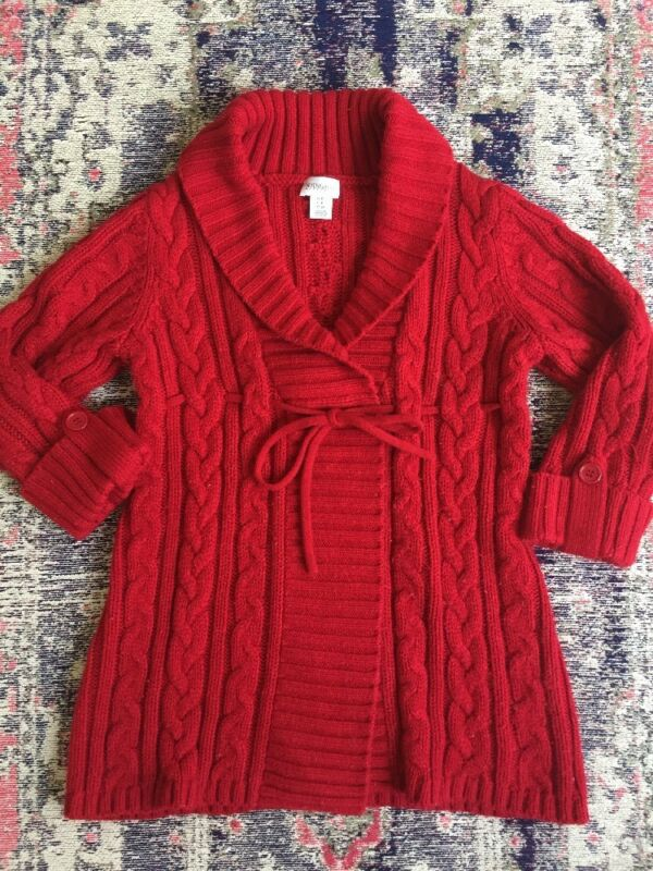Motherhood Maternity Small Red Cable Knit Thick Cardigan Sweater