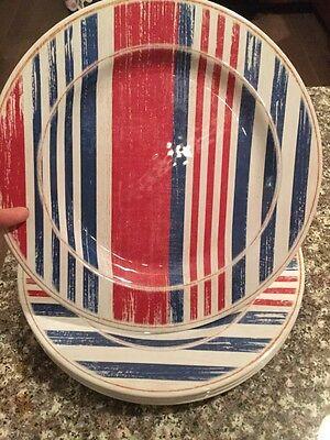 Melamine Dinner Plates Heavyweight - Red White Blue- NWT Set Of 4