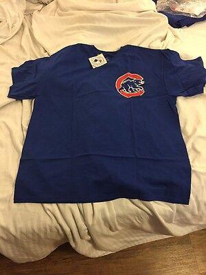 Chicago Cubs Men's XL Blue Majestic Jersey T-Shirt Blank Back Shirt World Series