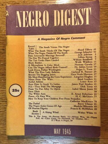 Vintage NEGRO DIGEST Magazine May 1945 Vol. III No. 7