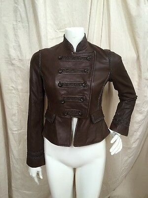 BCBG MAX AZRIA Dk. Brown Leather Cropped Double Breasted Military Jacket XS