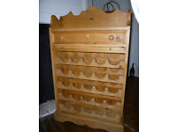 WINE RACK in Antique Pine finish with shelf & drawer