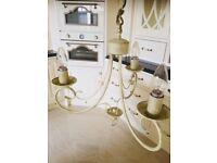 Laura ashley chandalier light fitting cream/gold/champagne beautiful item