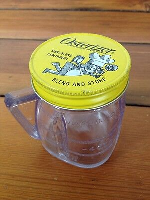 Vintage Oster Osterizer Mini Blend Store Clear Plastic Container Cup W  Lid