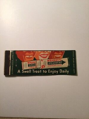Vintage Matchbook Cover Wrigley's Chewing Gum Makes Smoking Taste