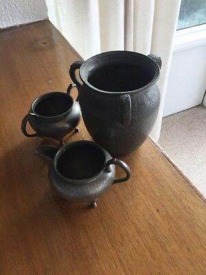 Set - Vintage Don Pewter Sheffield Hammered Pewter,pot , Milk & Sugar