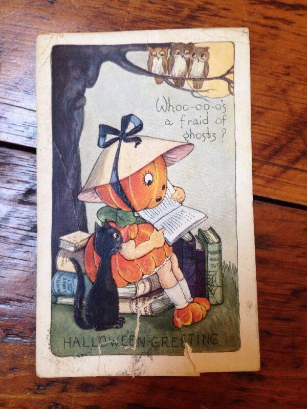 Vintage October 31 1920 Posted Halloween Jack O Lantern Pumpkin Ghosts Postcard