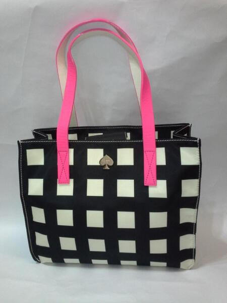 KATE SPADE NEW YORK BERRY STREET CHECKERED GRAYCE TOTE (DISPLAYED BAG)