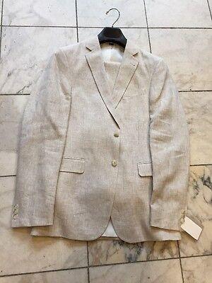 New  Mens 100  Linen Tan 2Bt  Suit Lined  Beach Wedding Size 42R