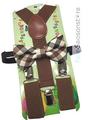 Brown with Style toddler bow tie and suspenders set - baby boy/girl Accesorries (Tie With Suspenders)