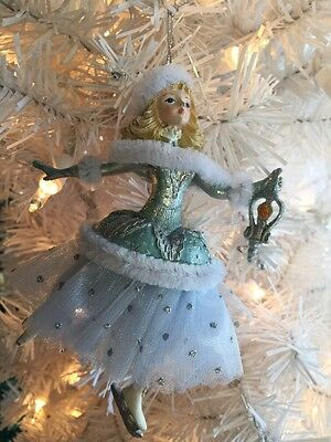 """Nice 5.5"""" Platinum and Teal Skating Girl With Lantern! Tulle Skirt!  (Right)"""