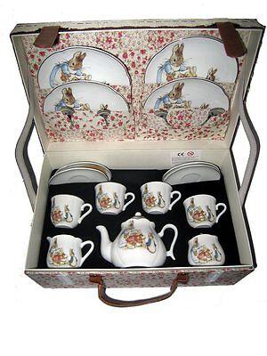 Reutter Children's Large Porcelain Tea Set for 4 in Hamper PETER RABBIT