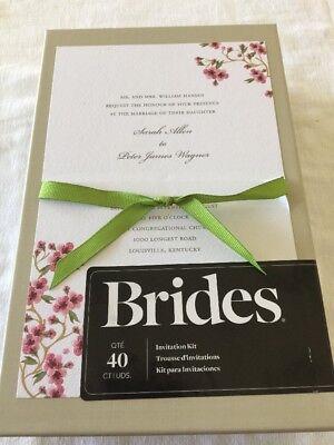 Diy Invitation Kits (BRIDES 40 ct DIY Cherry Blossom Wedding Invitation Kit Ribbon Simple Elegant)