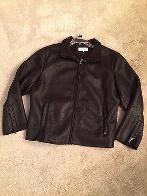 Calvin Klein Men's Black Crackled Polyester Fleece Zippers Large Nice! Kleine Polyester-fleece