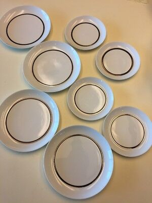 Block PLATINO 4 Salad Plates + 4 Bread & Butter Plates EUC