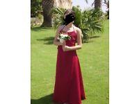 Girls red 2 piece bridesmaid dress