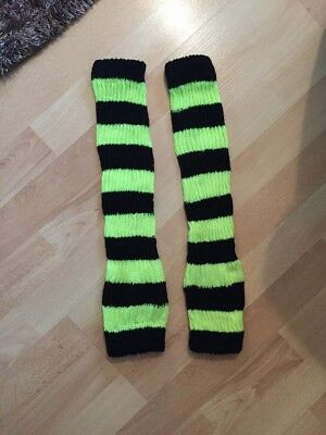 NEW CLAIRES ACCESSORIES BLACK NEON YELLOW LEG WARMERS HALLOWEEN COSTUME