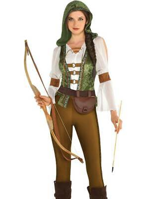 Ladies Sexy Robin Hood Huntress Fancy Dress Costume Womens Adults Medieval