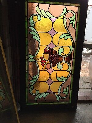 Fruit Bowl Stained Glass Window - Sg 1013 Antique All Stain Glass Fruit Bowl Window