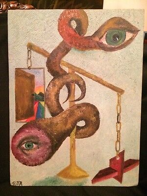 Vintage 1960's Original Abstract Paining by Rosalis J. Alba Oil on Artist Board