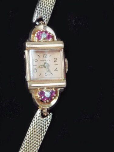 Retro-Vintage 14 K Yellow Gold Invicta Diamond & Ruby Ladies Watch