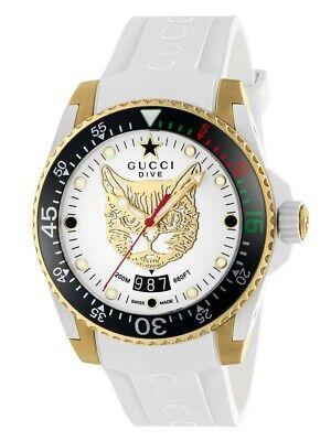 New Gucci Dive White Dial Gold-Tone Rubber Strap Men's Watch YA136322