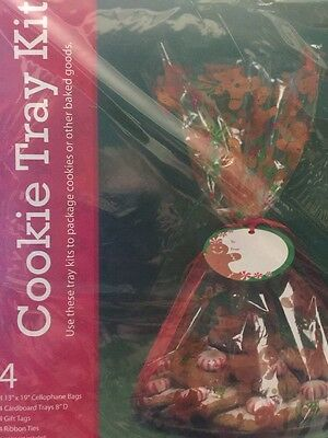 Cookie Tray Bags (Set 4 christmas cookie tray Complete Kit Cell Bags Tray Tags & Ties All In)