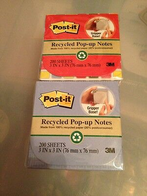 Lot Of 2 Post-it Recycle Pop-up Notes 200 Sheets With Dispencer