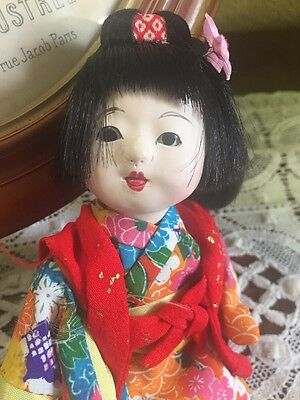 "Vintage Japan Doll Asia Child Kimono Gofun Ichimatsu 6"" Glass Eyes Cute"