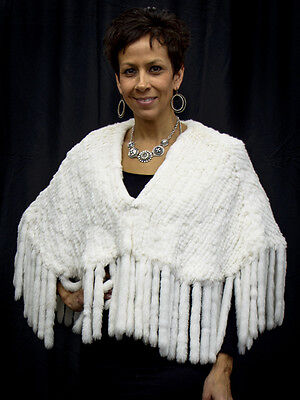 Soft White Rex Rabbit Fur Bridal Cape Poncho with Fringe - SALE for sale  Milwaukee
