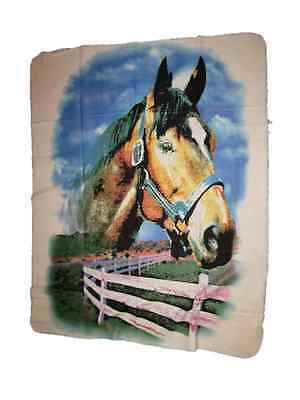 Horse Head Fence Farm 50x60 Polar Fleece Blanket - Head Throw Blanket