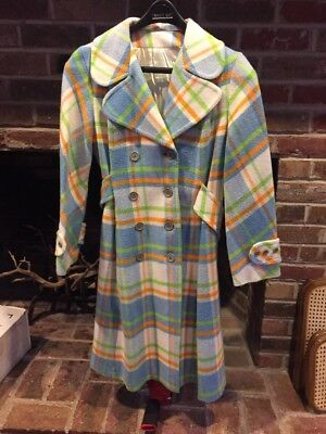 Beautiful Colorful Vintage 60s 70s Double-Breasted Flair Swing Coat