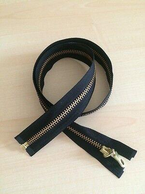 1 Reißverschluss YKK 70 cm, schwarz, teilbar, Metall goldfarben,neu