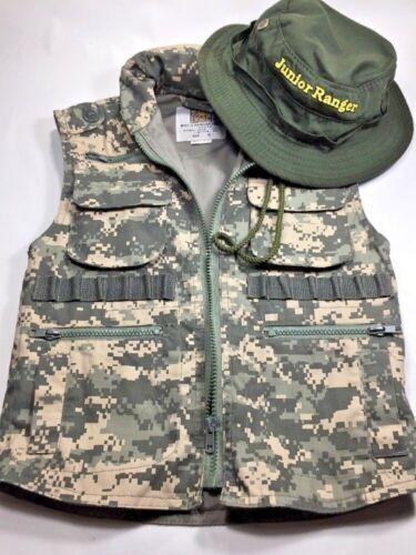 Rothco Digital Camo Ranger Army Vest JR. G.I. Boys Size Small Pockets W/ Hat