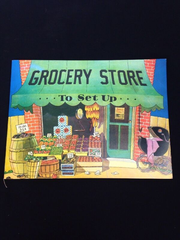 Old Fashioned Grocery Store To Set Up Reproduction Paper Dolls Uncut