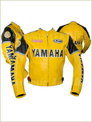 Used, New Mens Yellow Black Motorcycle Racing Cowhide Leather Biker Jacket For Yamaha for sale  Shipping to Canada
