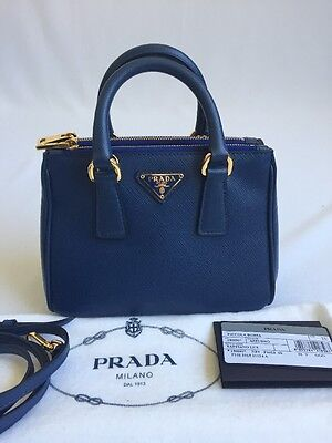NEW PRADA Mini Azzuro Blue Saffiano Lux leather bag 1BH907 CrossBody