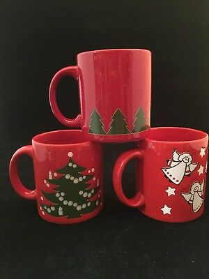 Used, 3  Waechtersbach W Germany red  Christmas Mug Coffee Cup for sale  Garland