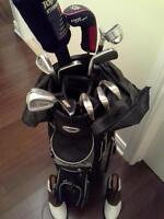 Men's golf bag, clubs and shoes