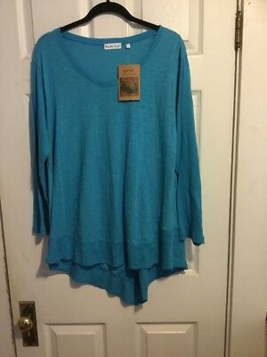 Habitat Clothes To Live In Blue Cotton Long Sleeve Top, Size L, NWT