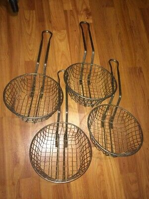 4 Commercial Deep Fryer Baskets 8 Inches X 3 Inches Used
